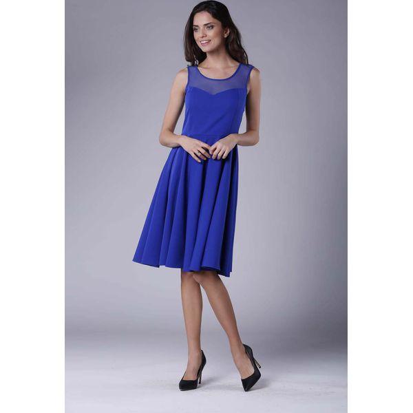 848d97e0 Chabrowa Rozkloszowana Sukienka Midi z Prześwitującym Karczkiem