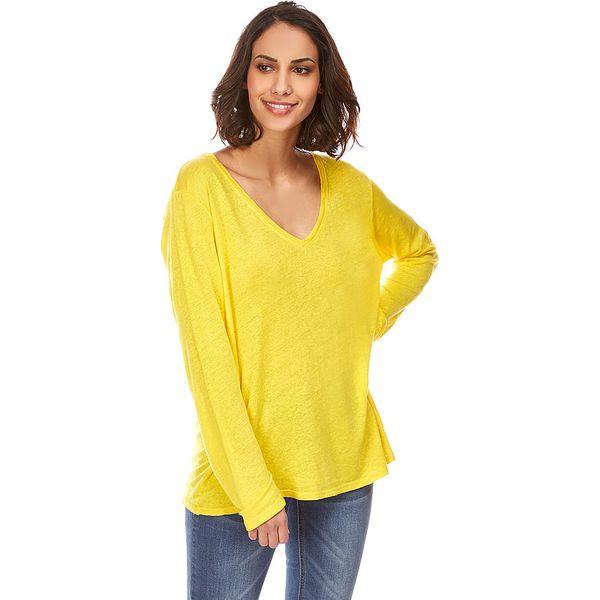 4bab0cee0c Lniana koszulka w kolorze żółtym - Bluzki damskie marki Naturelle en ...