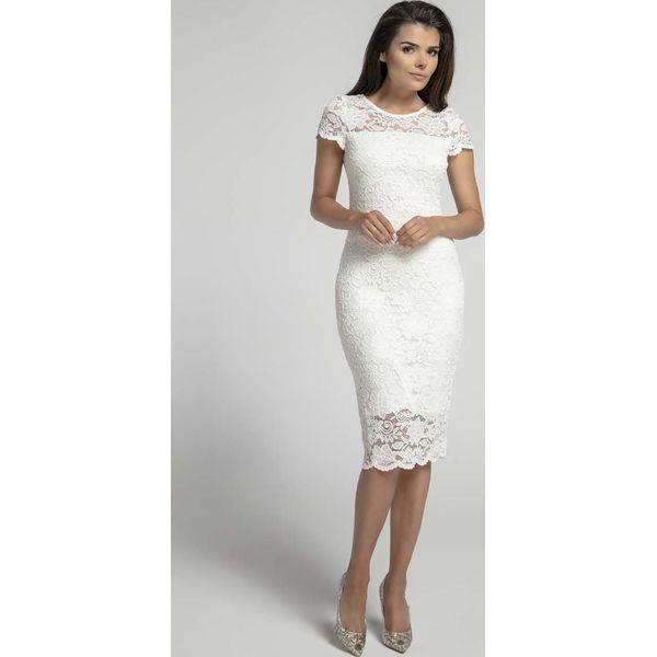 Nowość Ecru Koronkowa Ołówkowa Sukienka Midi z Dekoltem V na Plecach RW61