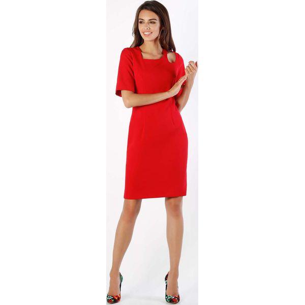 8f92a0b54687f4 Czerwona Dopasowana Sukienka z Dekoracyjną Łezką na Ramieniu ...