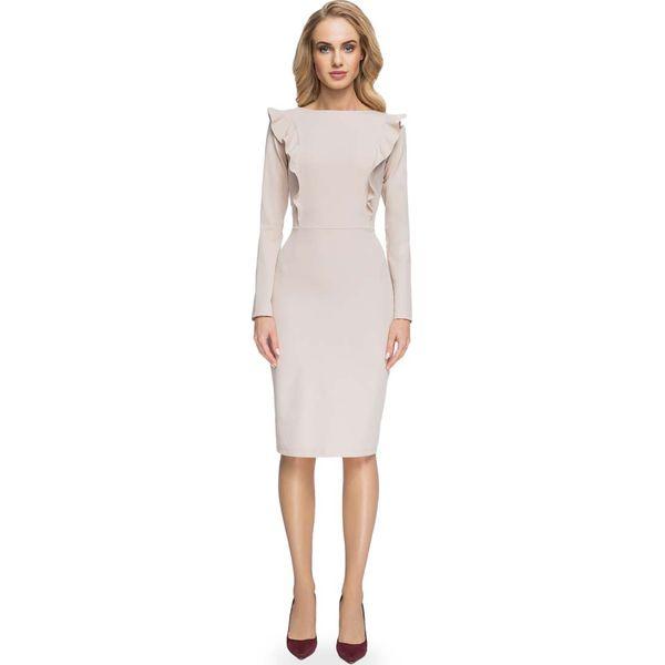 abe6409e0a Ołówkowa Sukienka z Falbankami przy Rękawach- Beżowa - Sukienki ...