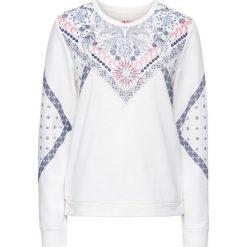 a8a766e360 Bluza z nadrukiem bonprix biel wełny z nadrukiem. Bluzy bez kaptura damskie  marki bonprix.
