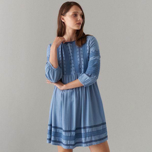 4847f964 Sukienka z wiskozy z haftowanymi detalami - Niebieski