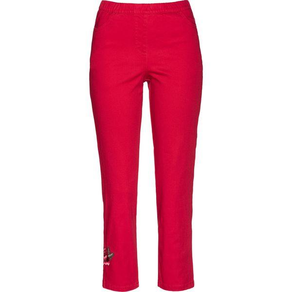 274d86acdad987 Spodnie z gumką w talii i aplikacją bonprix czerwony - Spodnie ...