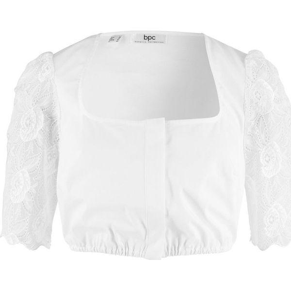 f2fa4f1ebfe9ae Bluzka ludowa z koronkowymi rękawami bonprix biały - Bluzki damskie ...