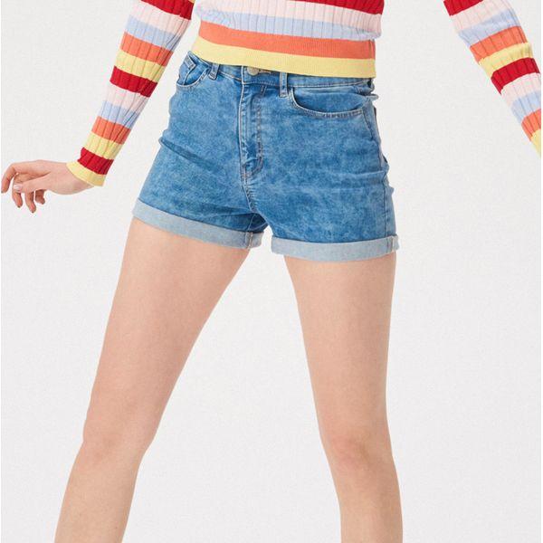 e5bb6fb7 Jeansowe szorty z wysokim stanem - Niebieski