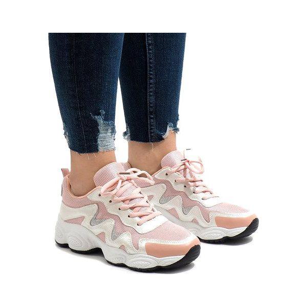 Różowe modne obuwie sportowe KB 153