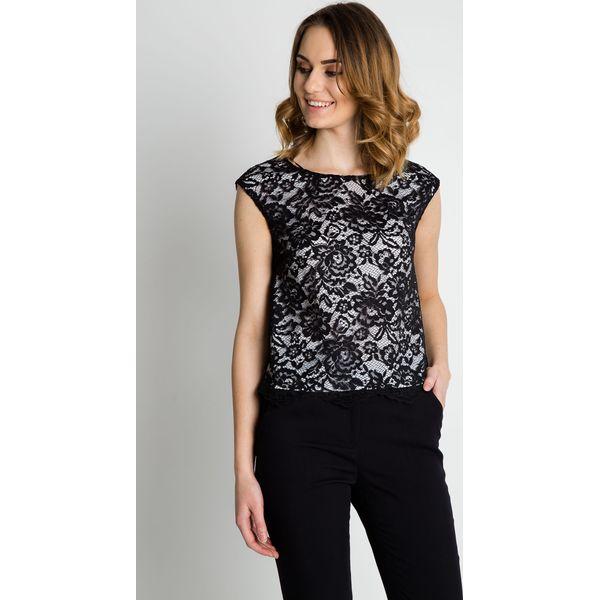 644db6ff9c84c0 Czarna koronkowa bluzka z białą podszewka BIALCON - Bluzki damskie ...