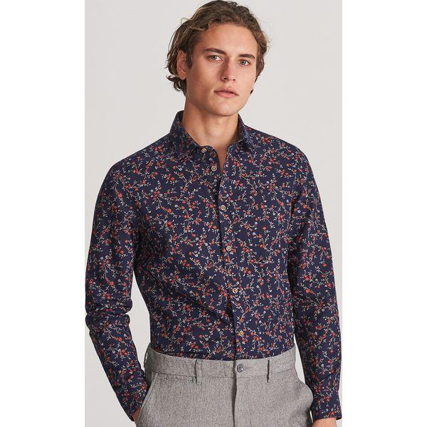 get new quite nice where can i buy Koszula slim fit w drobne kwiaty - Granatowy