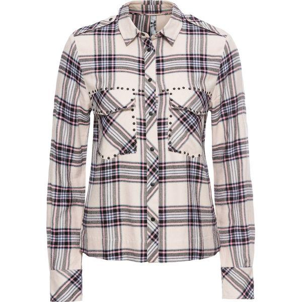 77d35fc50da9d2 Bluzka koszulowa z ćwiekami bonprix biel wełny w kratę - Bluzki ...