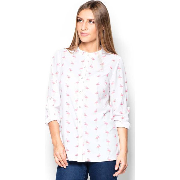 697319ff047797 Koszula we Flamingi ze Stójką Zapinana na Zatrzaski - Koszule damskie  Molly.pl, l, bez wzorów, z tkaniny, biznesowe, bez kołnierzyka, bez  ramiączek.