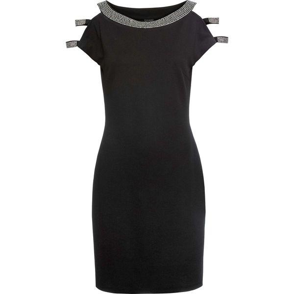 Sukienka z aplikacją ze sztrasów bonprix czarny