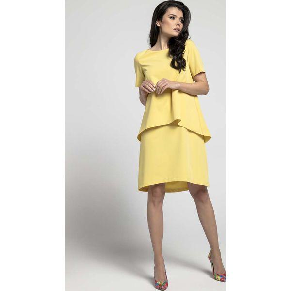 f5e768e039 Żółta Trapezowa Sukienka z Asymetryczną Nakładką - Sukienki damskie ...