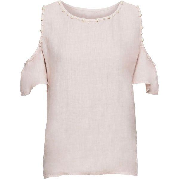 300675d69e Bluzka lniana z wycięciami na ramionach i perełkami bonprix różowy ...