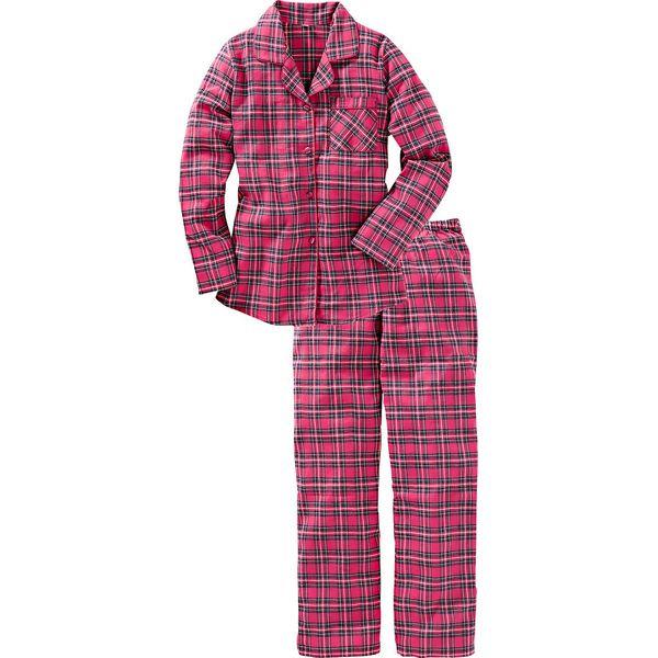 d251b4f930623e Piżama flanelowa bonprix różowy w kratę - Piżamy damskie bonprix. Za ...