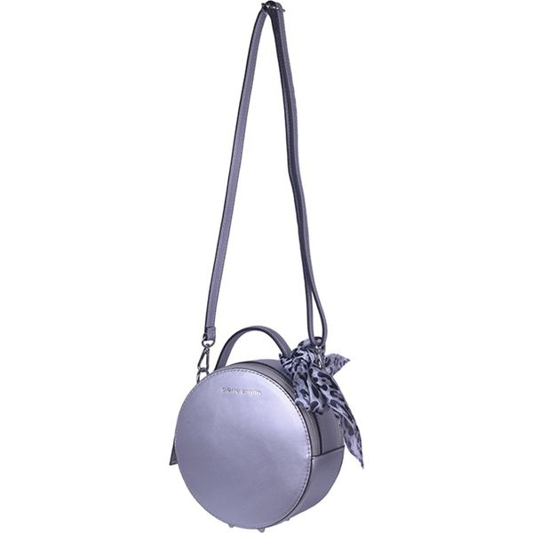 Skórzana torebka w kolorze srebrnym (S)18,5 x (W)18,5 x (G)8,5 cm