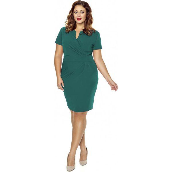 46cd99a4e3 Zielona Elegancka Sukienka z Założeniem Kopertowym - Zielone ...