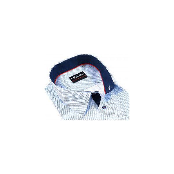 25de5dba503c66 Biała koszula męska w niebieskie prążki z krótkim rękawem MK2 ...