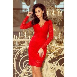 1d142b8a50 Numoco. Sukienki damskie. 199.00 zł. Koronkowa sukienka z dekoltem i długim  rękawkiem – czerwona.