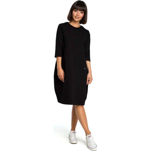75aff818f8 Czarna Luźna Sukienka Bombka z Ozdobnymi Przeszyciami - Sukienki ...