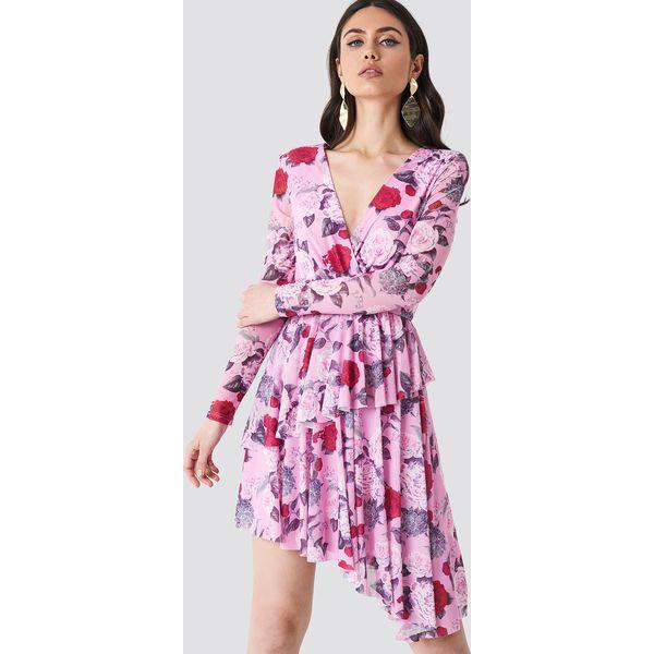 5234f028 NA-KD Siateczkowa sukienka z falbaną - Pink,Multicolor