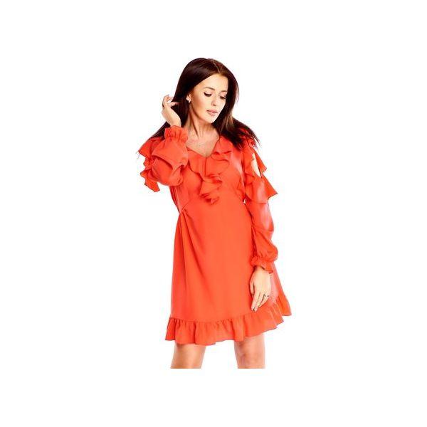 020ae887 Sukienka z falbaną i wycięciami na ramionach