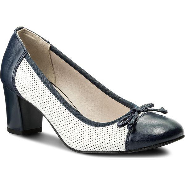 buty damskie biało-granatowe czółenka