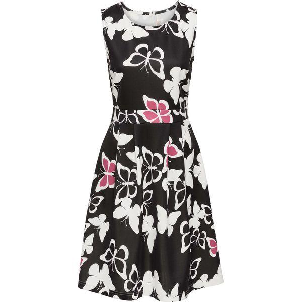 3b113c021e Sukienka z nadrukiem w motyle bonprix czarno-kremowy - Sukienki ...