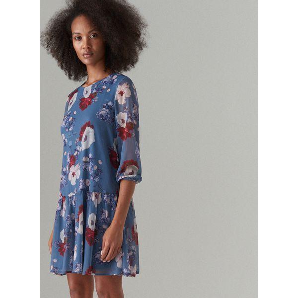 e1f5b334da Szyfonowa sukienka w kwiaty - Niebieski - Sukienki damskie marki ...