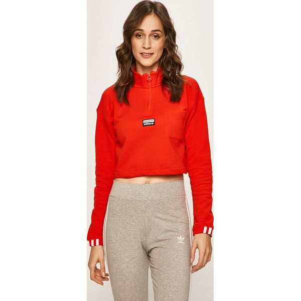 adidas bluza damska czerwona z kapturem