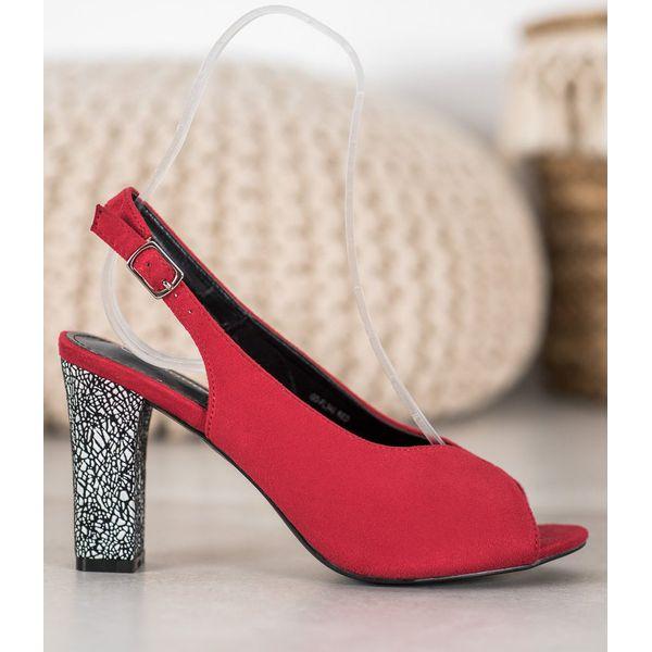Goodin Sandały Z Ozdobnym Obcasem czerwone