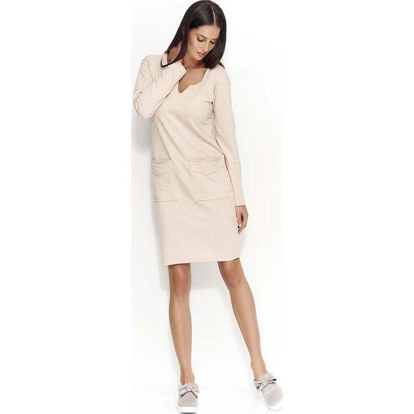 260a2ad2c3 Nude Sukienka Dzianinowa z Nakładanymi Kieszeniami - Sukienki ...