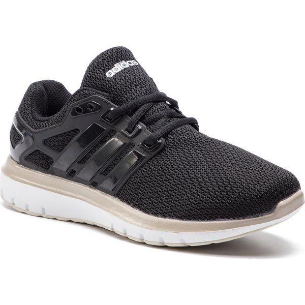 Czarne buty sportowe damskie Adidas do biegania z tworzywa