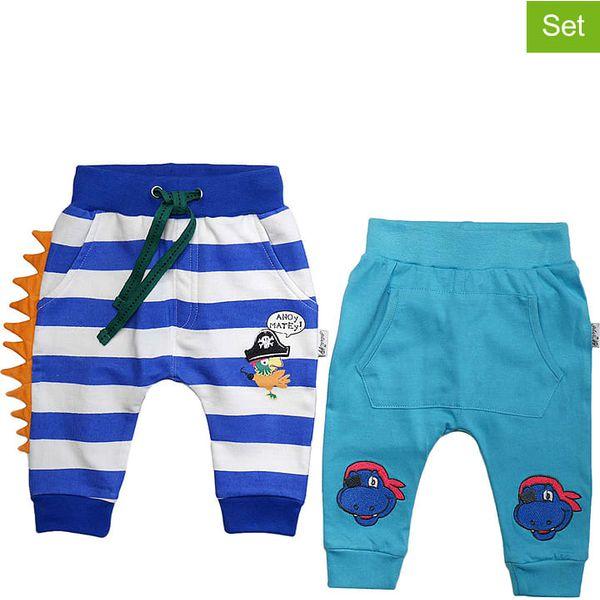 Spodnie (2 pary) w kolorze turkusowo niebiesko białym
