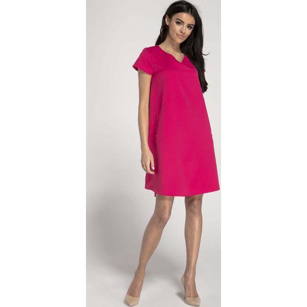 9bb7c030 Różowa Trapezowa Sukienka w Serek z Kieszeniami