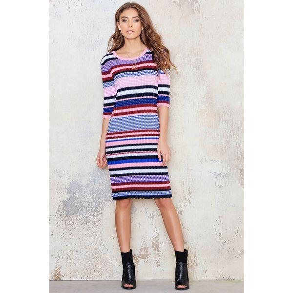 77784c6faa NA-KD Sukienka z dzianiny w kolorowe paski - Multicolor - Sukienki ...