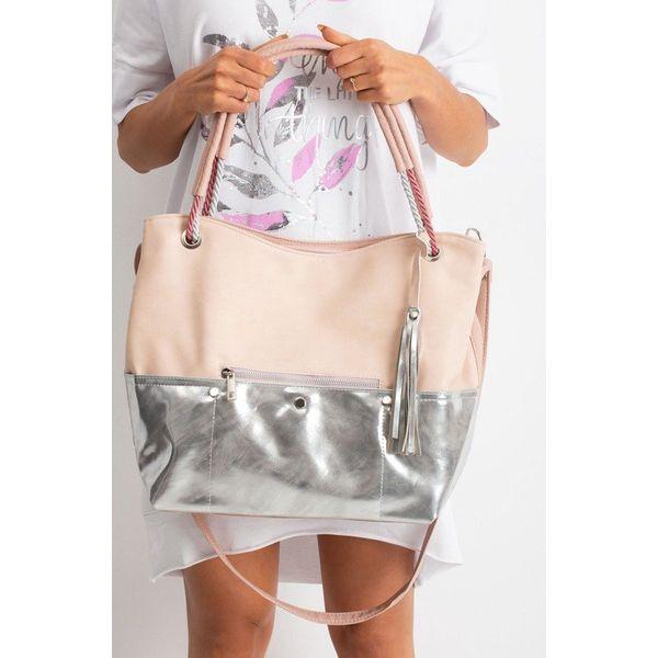 Torebka damska shopper bag worek 0010 różowo srebrna różowy