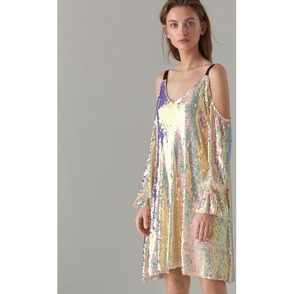 f107ba5a Cekinowa sukienka open shoulder - Wielobarwn