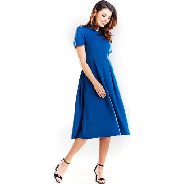 b28a63f04b Niebieska Elegancka Rozkloszowana Sukienka z Krótkim Rękawem ...