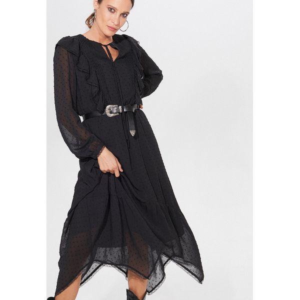Midi sukienka z paskiem Czarny
