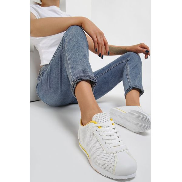 Biało Żółte Buty Sportowe Hylliphis