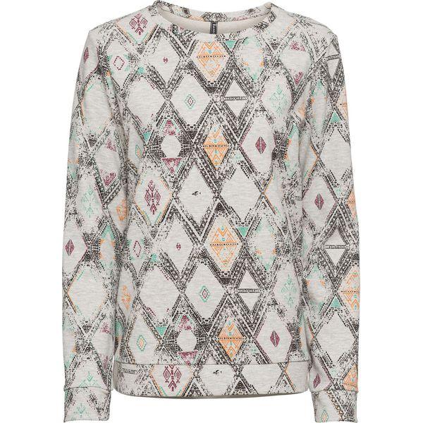 Bluza dresowa bonprix jasnoszary melanż z nadrukiem