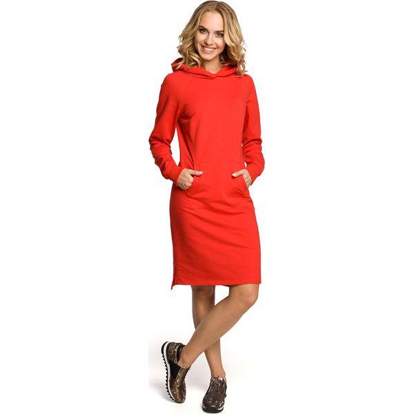 81840f79b3 Czerwona Sukienka Sportowa Kangurka z Kapturem - Sukienki damskie ...