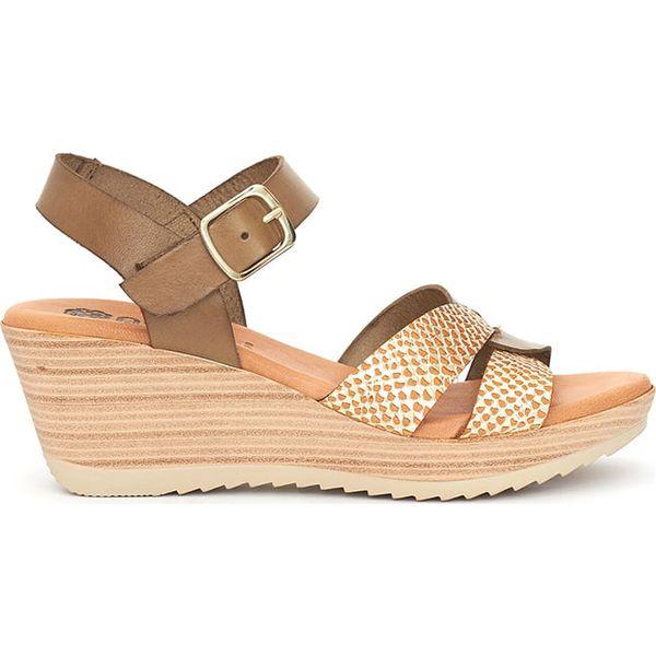 2c495ad52 Skórzane sandały w kolorze jasnobrązowo-złotym - Sandały damskie marki  Abril Flowers. W wyprzedaży za 150.95 zł. - Sandały damskie - Obuwie letnie  damskie ...