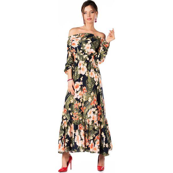 96dda6c012 Długa Zwiewna Sukienka w Kwiaty Hiszpańskim Dekoltem - Sukienki ...