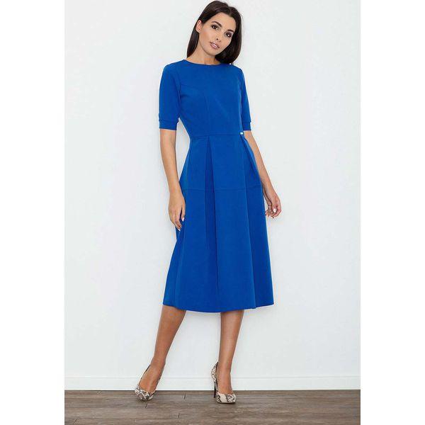 ab8e0519 Niebieska Sukienka Elegancka Wizytowa Midi