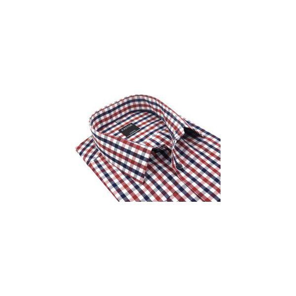 98475e29003007 Biała koszula męska w czerwono-granatową kratę K57 - Koszule męskie ...