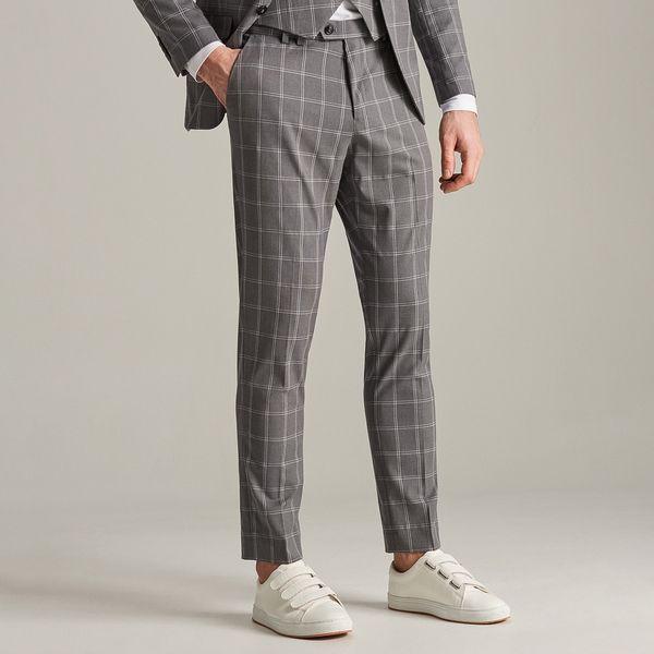 bed44197cd638 Spodnie garniturowe w kratę - Jasny szar - Spodnie wizytowe męskie marki  Reserved. Za 149.99 zł. - Spodnie wizytowe męskie - Spodnie męskie - Odzież  męska ...