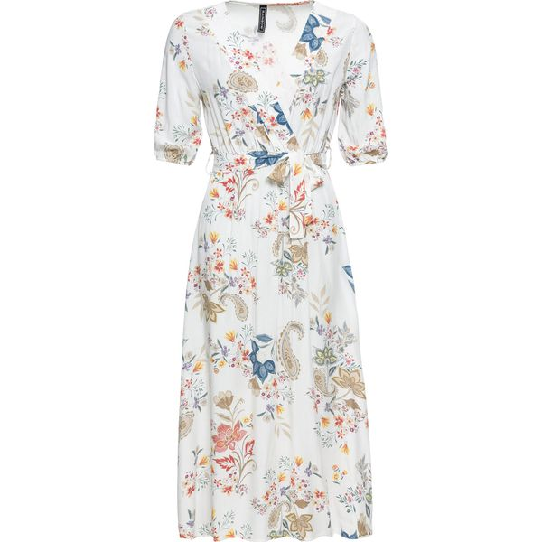85b6d69012 Sukienka midi bonprix biały z nadrukiem - Sukienki damskie marki ...