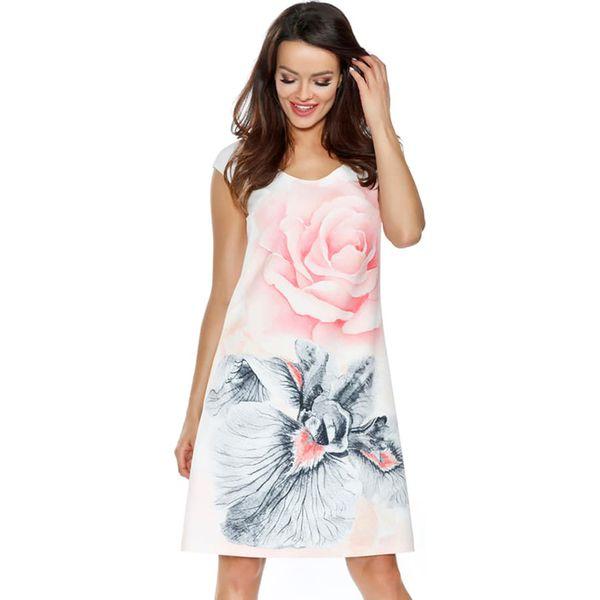 bebfe7832 Sukienka w kolorze białym ze wzorem - Sukienki damskie marki Ryłko ...